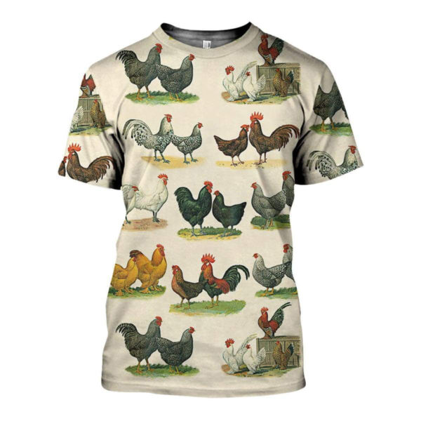 3D ALL OVER PRINTED CHICKEN BREEDS ART SHIRTS AND SHORTS