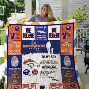 Denver Broncos Quilt Blanket - Love Mom