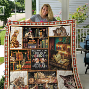 Books and Cats Modern Quilt Blanket