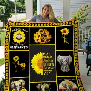 Elephants custom quilt