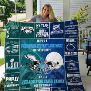 Penn State Nittany Lions And Philadelphia Eagles Custom Quilt Blanket Ver 1