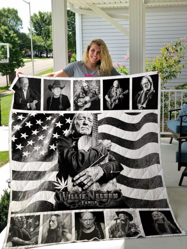 Willie Nelson Quilt Blanket Black and White
