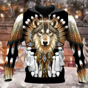 Print Native Wolf 3d Hoodie