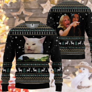 3d Ugly Woman Yelling At A Cat Custom Christmas Sweatshirt
