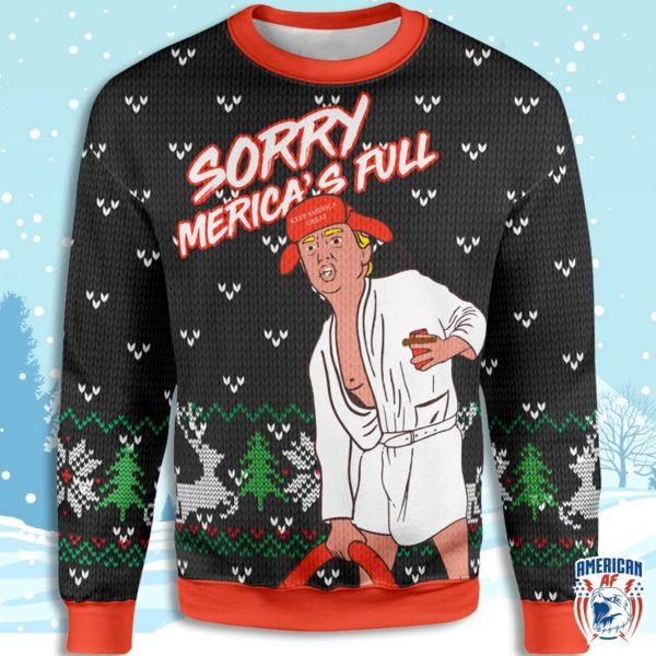 Sorry, Merica'S Full Christmas Sweatshirt Wow