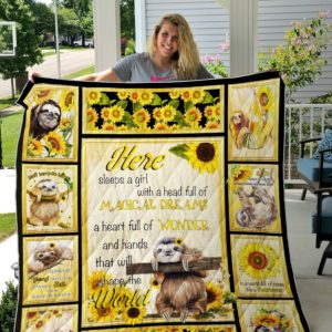 Sunflowers And Sloth Quilt Blanket