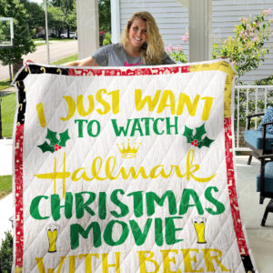 Hallmark Christmas Movies And Beer Quilt Blanket