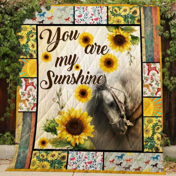Horse Sunflowers You Are My Sunshine Quilt Blanket