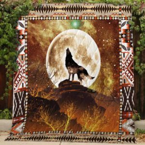 Wolf Howling At The Moon Quilt Blanket Great Customized Gifts For Birthday Christmas Thanksgiving Perfect Gifts For Wolf Lover