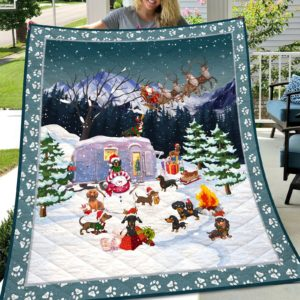 Christmas Camping Dachshunds With Snowman Quilt Blanket Great Customized Blanket Gifts For Birthday Christmas Thanksgiving