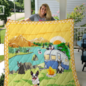 Boston Terrier Camping By The River Quilt Blanket Great Customized Blanket Gifts For Birthday Christmas Thanksgiving