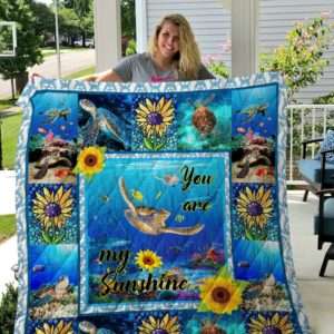 Turtle You Are My Sunshine Under The Sea Quilt Blanket Great Customized Blanket Gifts For Birthday Christmas Thanksgiving