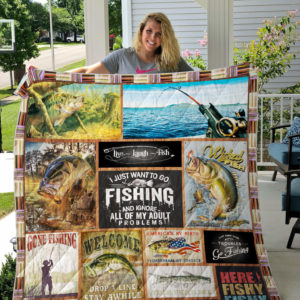 Fishing Live Laugh Fish Quilt Blanket Great Customized Gifts For Birthday Christmas Thanksgiving Perfect Gifts For Fishing Lover