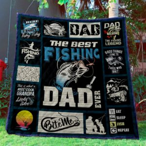 Fishing The Best Fishing Dad Quilt Blanket Great Customized Gifts For Birthday Christmas Thanksgiving Perfect Gifts For Fishing Lover