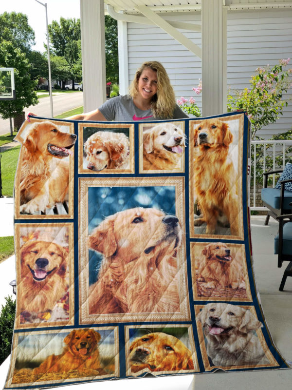 Golden Retriever Picture Art Quilt Blanket Great Customized Blanket Gifts For Birthday Christmas Thanksgiving