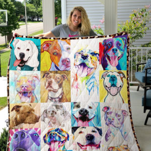Colorful Funny Pitbull Quilt Blanket Great Customized Blanket Gifts For Birthday Christmas Thanksgiving