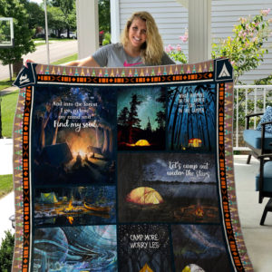 Camping Let's Camp Out Under The Stars Quilt Blanket Great Customized Blanket Gifts For Birthday Christmas Thanksgiving