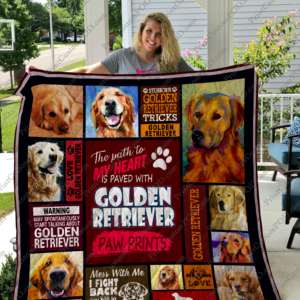 The Path To My Heart Is Paved With Golden Retriever Paw Prints Quilt Blanket Great Customized Blanket Gifts For Birthday Christmas Thanksgiving