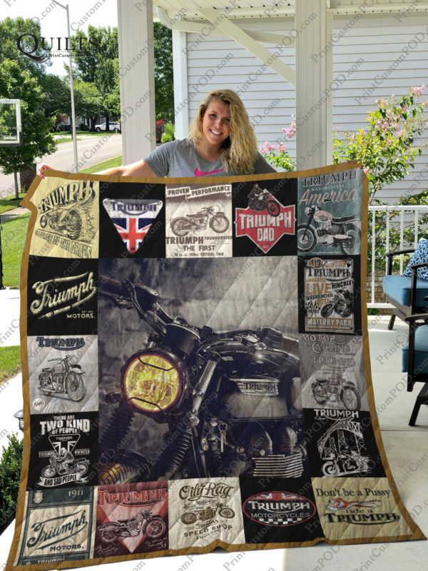 Don't Be A Pussy Ride A Triumph Quilt Blanket Great Customized Blanket Gifts For Birthday Christmas Thanksgiving