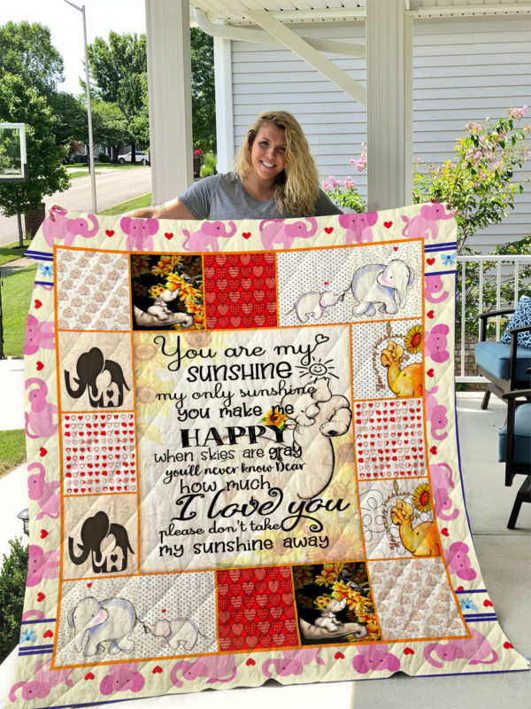 Elephant Sunflower My Only Sunshine Quilt Blanket Great Customized Gifts For Birthday Christmas Thanksgiving Perfect Gifts For Elephant Lover