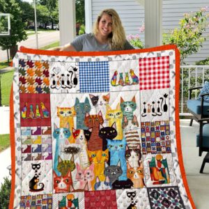 Cat With Colorful Fur Quilt Blanket Great Customized Gifts For Birthday Christmas Thanksgiving Perfect Gifts For Cat Lover