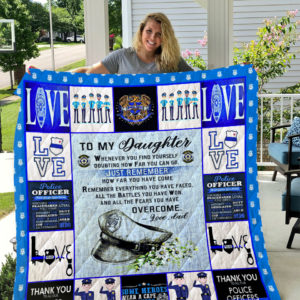 Personalized Police To My Daughter From Dad How Far You Come Quilt Blanket Great Customized Gifts For Birthday Christmas Thanksgiving Perfect Gifts For Police