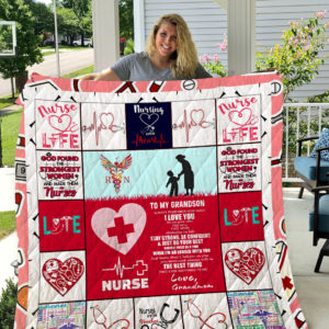 Personalized Nurse To My Grandson From Grandmom Always Remember How Much I Love You Quilt Blanket Great Customized Gifts For Birthday Christmas Thanksgiving Perfect Gifts For Nurse Grandson