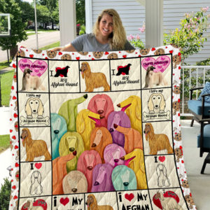 Colorful Afghan Hound Dog In Square Quilt Blanket Great Customized Blanket Gifts For Birthday Christmas Thanksgiving