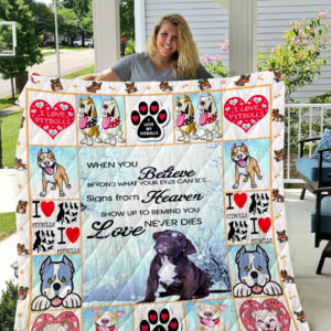 Pitbull Signs From Heaven Show Up To Remind You Love Never Dies Quilt Blanket Great Customized Blanket Gifts For Birthday Christmas Thanksgiving
