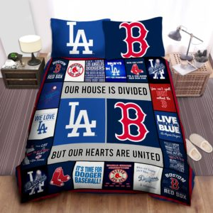 Los Angeles Dodgers And Boston Red Sox Duvet Cover Bedding Set