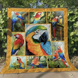 Scarlet Macaw Parrot Quilt Blanket Great Customized Gifts For Birthday Christmas Thanksgiving Perfect Gifts For Parrot Lover
