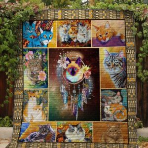 Adorable Cat Dreamcatcher Quilt Blanket Great Customized Gifts For Birthday Christmas Thanksgiving Perfect Gifts For Cat Lover