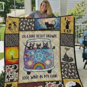 Love Black Cat On A Dark Desert Highway Cool Wind In My Hair Quilt Blanket Great Customized Blanket Gifts For Birthday Christmas Thanksgiving