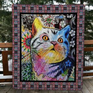 Cat Colorful Colored Head Cat Quilt Blanket Great Customized Blanket Gifts For Birthday Christmas Thanksgiving