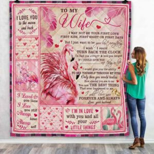 Personalized Flamingo To My Wife I Love You To The Moon And Back From Husband Quilt Blanket Great Customized Blanket Gifts For Birthday Christmas Thanksgiving