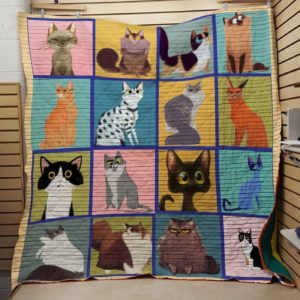 Round Eye Cat Various Cats Cartoon Cats Quilt Blanket Great Customized Blanket Gifts For Birthday Christmas Thanksgiving