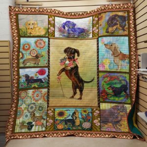 Dachshund Dog Drawing Dogs And Flowers Dog Keeping Flower Basket In Mouth Quilt Blanket Great Customized Blanket Gifts For Birthday Christmas Thanksgiving