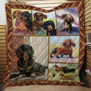 Brown Black And Tan Dachshund Innocent Face Dogs With Short Legs And Big Ears Quilt Blanket Great Customized Blanket Gifts For Birthday Christmas Thanksgiving