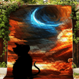 Black Cat Looking At The Blue Moon Quilt Blanket Great Customized Blanket Gifts For Birthday Christmas Thanksgiving