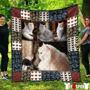 Cat Be Love Life Like Cats Love Fish White Hairy Cats Quilt Blanket Great Customized Blanket Gifts For Birthday Christmas Thanksgiving