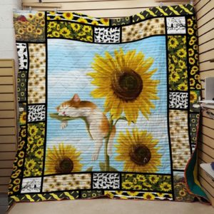 Cat And Sunflower Quilt Blanket Great Customized Gifts For Birthday Christmas Thanksgiving Anniversary