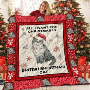 British Shorthair Cat All I Want For Christmas Is British Shorthair Cat Quilt Blanket Great Customized Blanket Gifts For Birthday Christmas Thanksgiving