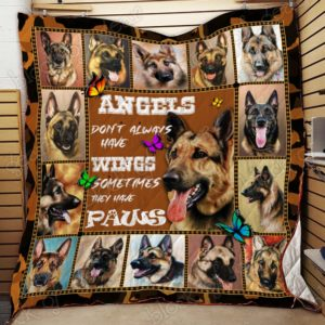 German Shepherd Angels Don't Always Have Wings Sometimes They Have Paws Quilt Blanket Great Customized Blanket Gifts For Birthday Christmas Thanksgiving