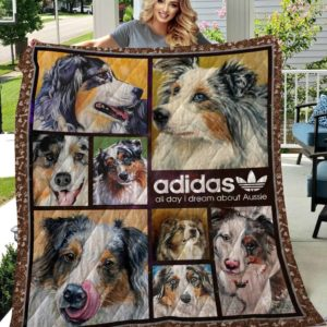 Adidas Australian Shepherd All Day I Dream About Aussie Quilt Blanket Great Customized Blanket Gifts For Birthday Christmas Thanksgiving