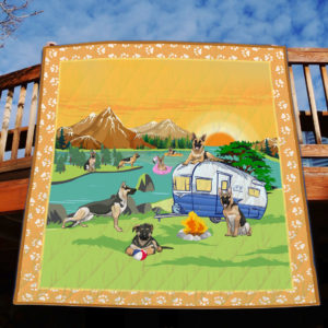 Camping German Shepherd By The River Quilt Blanket Great Customized Blanket Gifts For Birthday Christmas Thanksgiving