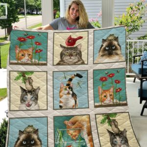 Cute Cats Moment Quilt Blanket Great Customized Blanket Gifts For Birthday Christmas Thanksgiving