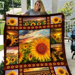 Field Of Sunflower Sunset Quilt Blanket Great Customized Gifts For Birthday Christmas Thanksgiving Perfect Gifts For Sunflower Lover