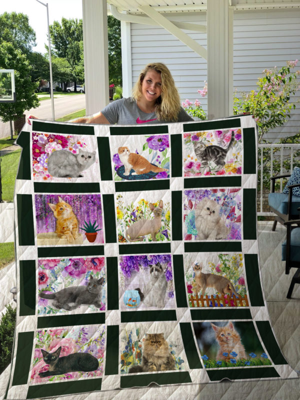 Cat With Flower Quilt Blanket Great Customized Gifts For Birthday Christmas Thanksgiving Perfect Gifts For Cat Loverquilt Blanket Great Customized Gifts For Birthday Christmas Thanksgiving Perfect Gifts For Cat Lover