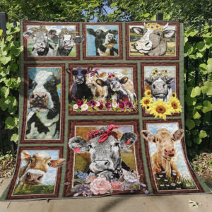 Heifer With Flowers Quilt Blanket Great Customized Gifts For Birthday Christmas Thanksgiving Perfect Gifts For Heifer Lover