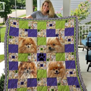 Cute Pomeranian Quilt Blanket Great Customized Blanket Gifts For Birthday Christmas Thanksgiving